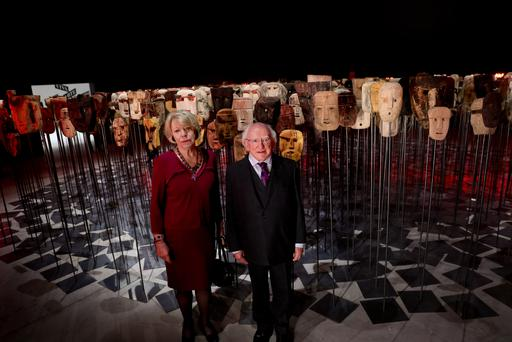 President Michael D Higgins and his wife Sabina at the Chilean pavilion in the Venice Biennale ahead of a meeting with Pope Francis in Rome. Photo: Maxwells