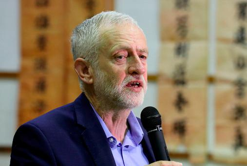 Labour Leader Jeremy Corbyn speaks during a visit to the Pagoda Arts and the Wah Sing Chinese Community centre as he campaigns for the upcoming general election in Liverpool, England. Photo: GETTY