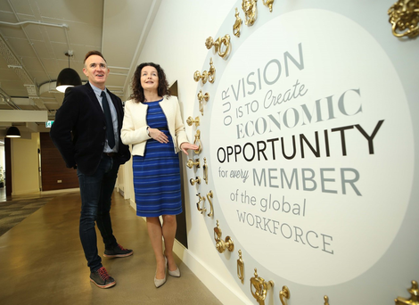 Paul Mooney, co-founder and ceo of Jobcare, and Sharon McCooey, senior director international operations and site leader of LinkedIn Ireland