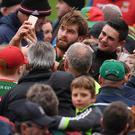 Aidan O'Shea with Mayo supporters after a recent league game against Donegal in Castlebar