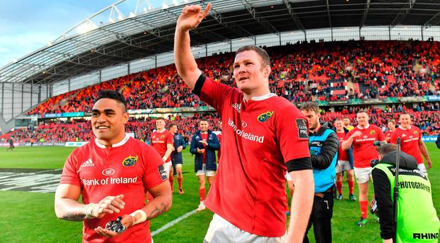 Francis Saili, left, and Donnacha Ryan of Munster after the Guinness PRO12 semi-final match between Munster and Ospreys at Thomond Park on Saturday