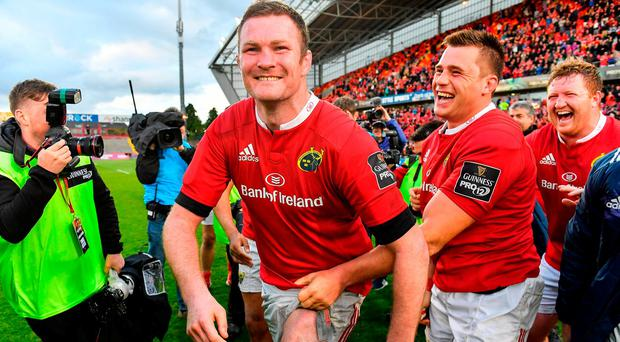 Donnacha Ryan, left, of Munster with team-mates CJ Stander and John Ryan after the Guinness PRO12 semi-final match between Munster and Ospreys at Thomond Park in Limerick. Photo by Brendan Moran/Sportsfile