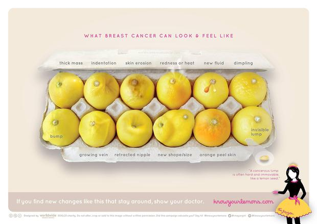 The lemon metaphors present a clear visual way of showing breast cancer signifiers
