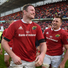 20 May 2017; Donnacha Ryan, left, and CJ Stander of Munster celebrate after the Guinness PRO12 semi-final between Munster and Ospreys at Thomond Park in Limerick. Photo by Diarmuid Greene/Sportsfile