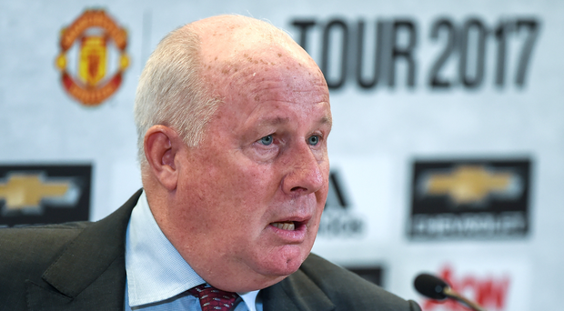 22 May 2017; Former Sampdoria midfielder Liam Brady speaking at the announcement of the international club match at the Aviva Stadium on August 2nd between Manchester United and Sampdoria. Aviva Stadium, Dublin. Photo by Seb Daly/Sportsfile