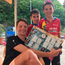 Sam Bennett signs his Giro sticker for two young fans on yesterday's rest day in Bergamo.
