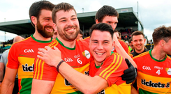Carlow pair Daniel St Ledger (left) and Jamie Clarke celebrate following the Leinster SFC victory against Wexford. Photo: Ramsey Cardy/Sportsfile