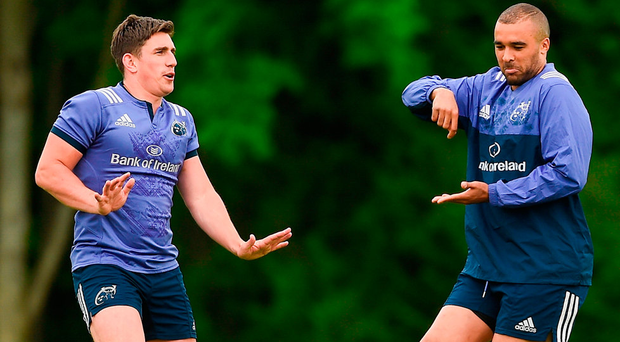 Ian Keatley and Simon Zebo of Munster during Munster Rugby squad training at the University of Limerick. Photo: Sportsfile