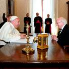 Pope Francis and President Michael D Higgins meeting in the Vatican City, Rome, yesterday. Photo: Maxwellphotography.ie
