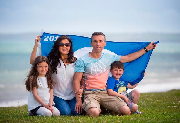 Daisy Sanders (9), Carla Morey, Brian Sanders, and Sam Sanders (6) at Redbarn, Youghal, Co. Cork, at the announcement of An Taisce's Blue Flag and Green Coast Awards. Photo: Naoise Culhane