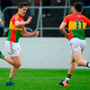 Carlow's Brendan Murphy celebrates with Darragh Foley after scoring his side's second goal against Wexford during the Leinster SFC Round 1 match at Netwatch Cullen Park last Sunday. Photo: Sportsfile