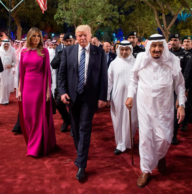 U.S. President Donald Trump and first lady Melania Trump are welcomed by Saudi Arabia's King Salman bin Abdulaziz Al Saud at Al Murabba Palace in Riyadh, Saudi Arabia May 20, 2017. Picture taken May 20, 2017. Bandar Algaloud/Courtesy of Saudi Royal Court/Handout via REUTERS ATTENTION EDITORS - THIS PICTURE WAS PROVIDED BY A THIRD PARTY. FOR EDITORIAL USE ONLY.