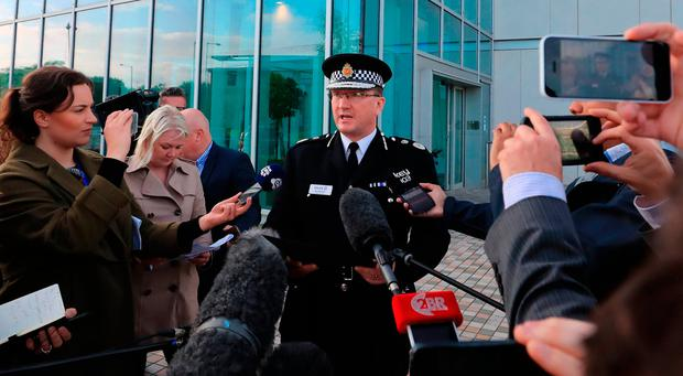 Greater Manchester Police chief constable Ian Hopkins speaks to the media in Manchester where he said that the death toll from the Manchester bomb attack has risen to 22 with 59 injured. Photo: Peter Byrne/PA Wire