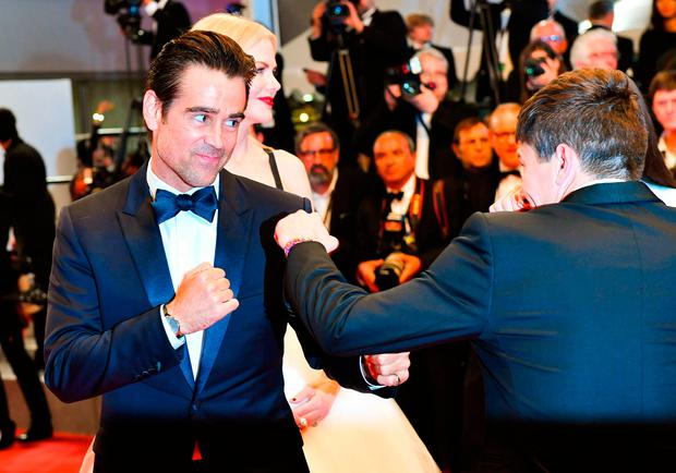 Colin Farrell simulates a fight with Barry Keoghan following the screening of the film 'The Killing of a Sacred Deer'