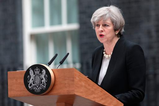 Britain's Prime Minister Theresa May speaks to the media after chairing a meeting of the Governments emergency COBRA committee at Downing Street