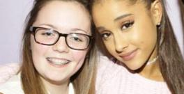 Georgina Bethany Callander, from Whittle-le-Woods in Lancashire, pictured with her idol Ariana Grande
