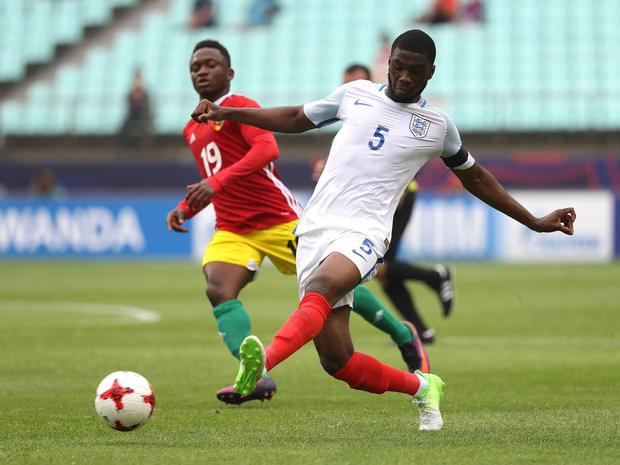 Fikayo Tomori scored a 45-metre own-goal during England Under-20's clash against Guinea Under-20's. Getty