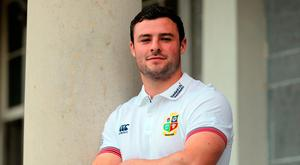 British and Irish Lions' Robbie Henshaw poses for photos after the British and Irish Lions training session at Carton House