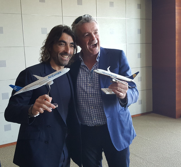 Globalia Group CEO, Javier Hidalgo and Ryanair CEO, Michael O'Leary