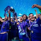 Chelsea celebrate winning the Premier League last season