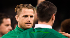 18 March 2017; Jamie Heaslip of Ireland speaks to Jonathan Sexton after the RBS Six Nations Rugby Championship match between Ireland and England at the Aviva Stadium in Lansdowne Road, Dublin. Photo by Brendan Moran/Sportsfile