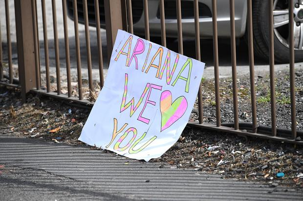 A sign saying 'Ariana we love you' is left in the street on May 23, 2017 in Manchester, England. (Photo by Leon Neal/Getty Images)
