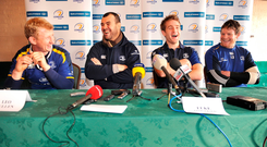 13 January 2009; Leinster head coach Michael Cheika, second from left, shares a joke with players, from left, Leo Cullen, Luke Fitzgerald, and Malcolm O'Kelly, at a press conference ahead of their Heineken Cup Pool 2 match against London Wasps. Bective Rangers Clubhouse, Donnybrook, Dublin. Picture credit: Brian Lawless / SPORTSFILE