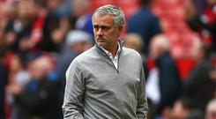 MANCHESTER, ENGLAND - MAY 21: Jose Mourinho, Manager of Manchester United looks on as his team warm up prior to the Premier League match between Manchester United and Crystal Palace at Old Trafford on May 21, 2017 in Manchester, England. (Photo by Dave Thompson/Getty Images)