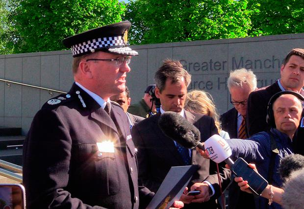 Greater Manchester Chief Constable Ian Hopkins delivers a statement outside the Greater Manchester Police headquarters, as the suicide bomber who brought carnage to the Manchester Arena has been named as Salman Abedi Credit: Andy Hampson/PA Wire