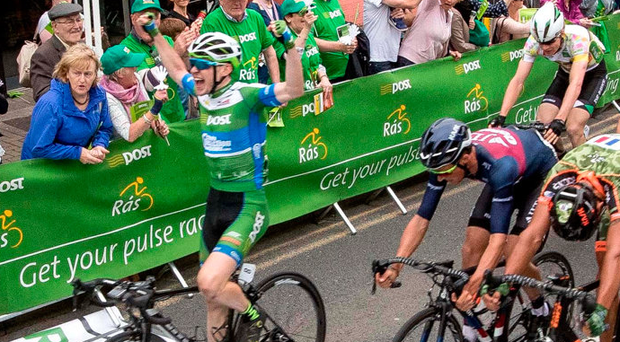 Matthew Teggart of the An Post Chain Reaction team takes the first Irish stage win of this year's Rás in Bundoran yesterday Photo: INPHO/Morgan Treacy