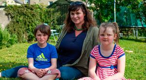 Dealing with bad news: Jan Redmond and her children Johnny and Matilda. Photo: Arthur Carron