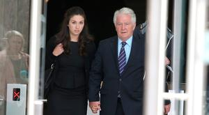 Sean Fitzpatrick with his daughter Sarah, after he was acquitted of all charges. Photo: Damien Eagers