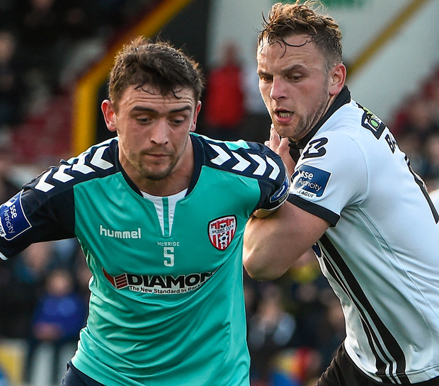 Derry's Dean Jarvis and Dundalk's Paddy Barrett