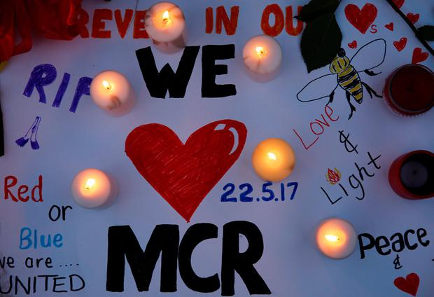 A message is left for the victims of the Manchester Arena attack in central Manchester. REUTERS/Stefan Wermuth