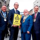 Housing Minister Simon Coveney was at the launch of a campaign for the Tenancy Protection Service on Suffolk Street in Dublin with Dún Laoghaire-Rathdown chairman Cllr Cormac Devlin; Dublin Lord Mayor Brendan Carr; South Dublin Mayor Gus O'Connell; and Fingal Mayor Darragh Butler. Photo: Conor McCabe