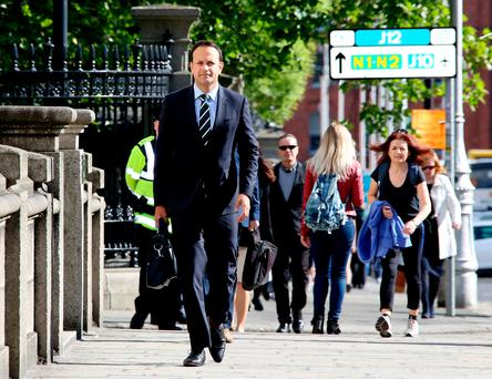Leo Varadkar arriving for a Cabinet meeting at Government Buildings. Photo: Tom Burke