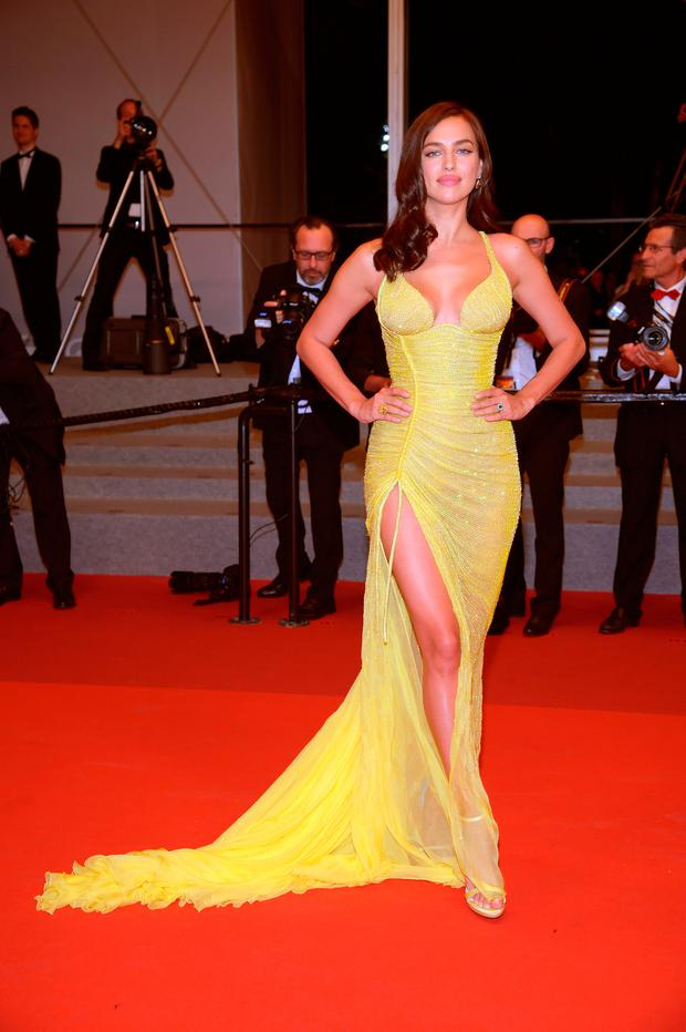 Irina Shayk dazzles in skintight Versace gown on first red carpet ...