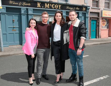 Fair City Actors -Amilia Stewart who plays Katy O Brien,Daithi MacSuibhne who plays Emmet Una Kavanagh who plays Heather Daly and Johnny Ward wh plays Ciaran Holloway pictured on the Fair City Set at RTE Studios in Donnybrook ,Dublin. Picture: Rte