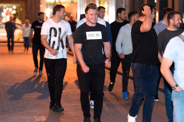 British and Irish Lions players Robbie Henshaw and Stuart Hogg arrive at Keoghs pub in Dublin after a meal in Marco Pierre White in Dublin. Picture: Justin Farrelly