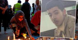 Vigil held in Manchester after terror attack that killed at least 22 people, inset: suicide bomber Salman Abedi