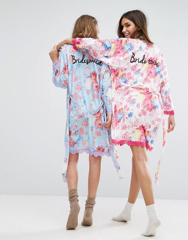 56f1c2af98 These bride and bridesmaid robes are perfect for wedding morning ...