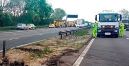 Handout photo issued by Highways England of a section of the central barrier removed to allow the flow of traffic, after five people died in a crash involving a lorry and a car on the M6 in Staffordshire. Highways England/PA Wire