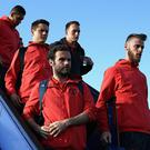 STOCKHOLM, SWEDEN - MAY 23: In this handout image provided by UEFA, Juan Mata of Manchester United and David De Gea of Manchester United arrive ahead of the UEFA Europa League Final between Ajax and Manchester United at Stockholm Arlanda Airport on May 23, 2017 in Stockholm, Sweden. (Photo by Handout/UEFA via Getty Images)