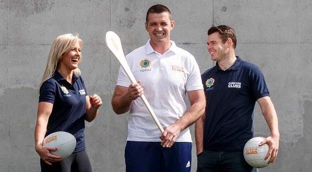Topaz brand ambassadors Brid Stack, Alan Quinlan and Kevin McManamon at the launch of the 2017 Topaz Cash for Clubs programme.