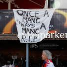 Banner on display in reference to the attack in Manchester