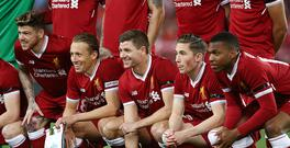 SYDNEY, AUSTRALIA - MAY 24: Steven Gerrard of Liverpool poses in the team line up before the International Friendly match between Sydney FC and Liverpool FC at ANZ Stadium on May 24, 2017 in Sydney, Australia. (Photo by Mark Metcalfe/Getty Images)