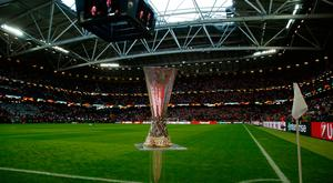 Europa League trophy pitchside before the match