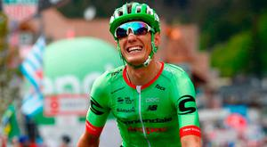 Pierre Rolland of team Cannondale-Drapac celebrates as he crosses the finish line to win the 17th stage of the 100th Giro d'Italia, from Tirano to Canazei. Photo: AFP/Getty Images