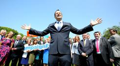 Leo Varadkar at his 'Taking Fine Gael Forward' party policy paper launch in Dublin . Photo: Tom Burke