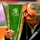Jose Mourinho kisses the Europa League trophy following United's victory in Stockholm. Photo: GETTY